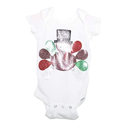 Unisex Baby Girl White Glitter Turkey Thanksgiving