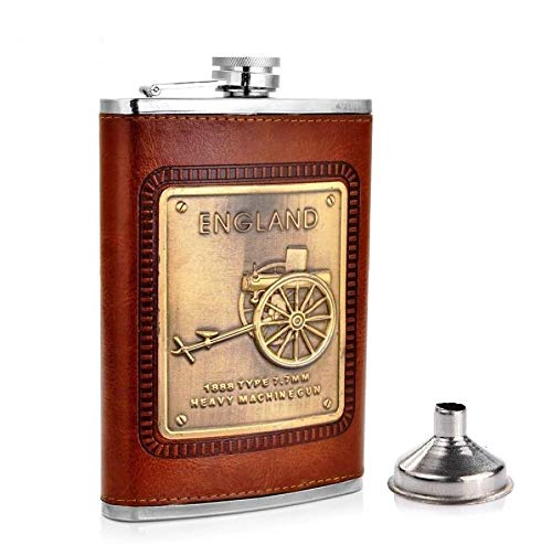 Menzy Stainless Steel and Stitched Leather Hip Flask 8 oz (230 Ml), England Design Wine Whiskey Vodka Alcohol Drinks Pocket...