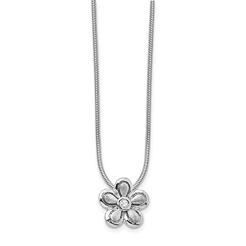 Solid 925 Sterling Silver 02ct. Matte Finish Diamond Flower Necklace Chain 18