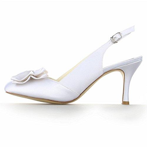 JIA JIA A31B37 Damen Brautschuhe Geschlossene Zehe Hoher Absatz Satin Sandalen Bowknot Hochzeitsschuhe Weiß