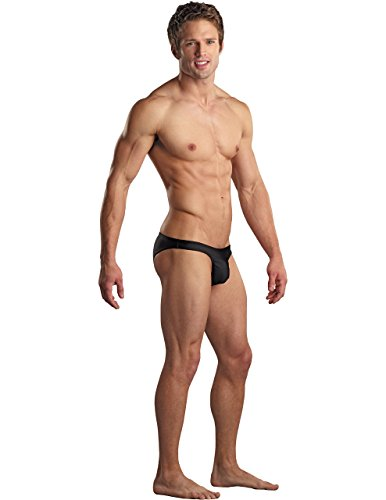 Euro Male Spandex Brazilian Pouch Bikini in Black, Medium