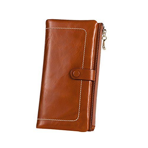 Kattee Women's Fashion Real Leather Zipper Wallet Card Bag Coin Case Phone Holder Brown