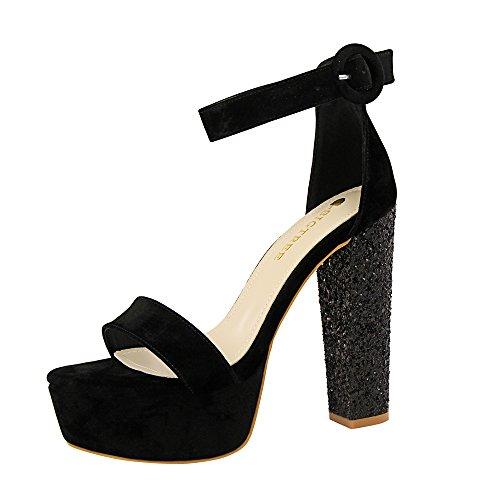 Tiras Altos Sexy Palabra de Zapatos Sandalias de Tacones Black Mujer Gruesos Lentejuelas Tacones qx8xw60YZ