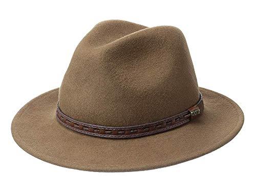 SCALA Men's Crushable Wool Felt Safari with Leather Band Pecan LG (7 1/4-7 3/4) ()