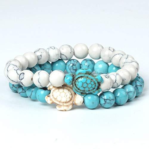 - 2pcs/Set White Turquoise Bracelet Charms Sea Turtle Tortoise 8mm Beads Matte Black Lava Stone Bracelets for Women Couple Jewelry