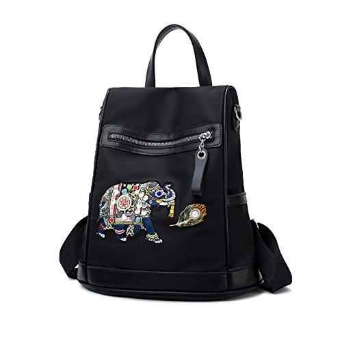 SDINAZ Femmes National Backpacks Nylon Elephant Embroidery Fashion Sac à Dos antivol Sac à bandoulière Sac à Main Noir Noir