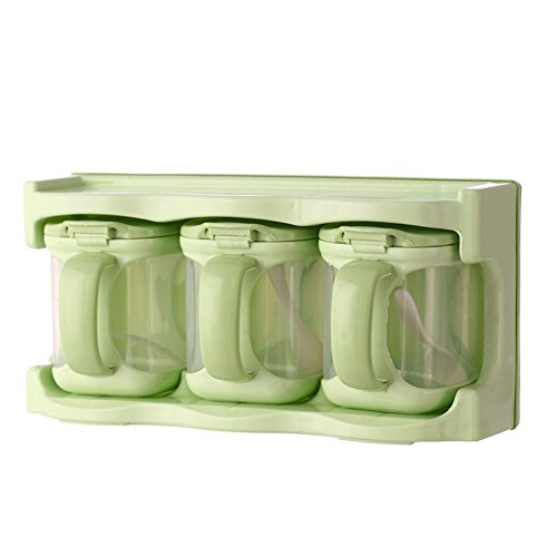 3 Pieces Seasoning Boxes Clear Seasoning Rack Spice Pots Storage Container Condiment Jars With Cover(green)