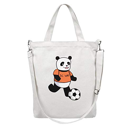 12.5X15 Inches Cute Zip Crossbody Canvas Large Tote Bag For Women panda play football Durable Handles Beach Work Gym Book Lunch School Shopping Shoulder -