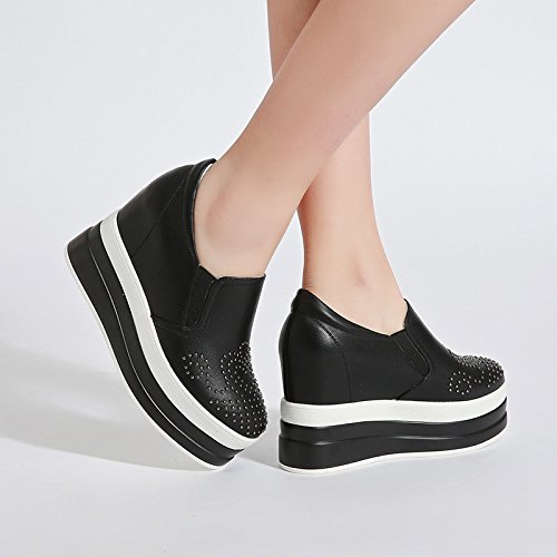Soles New Black Shoes Le Increased Thick Single 10Cm High Shoes Casual Female Shoes Heeled Shoes Fu KPHY wIpUxqU