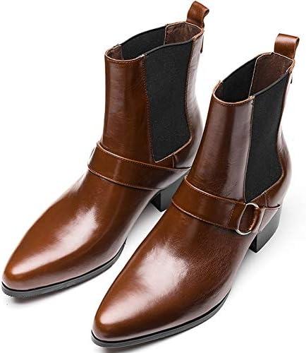 FIESSO Scarpe a Punta High Top di Avvio for Gli Uomini Stivali da Lavoro Premium Genuine Leather Pull On Monk Strap Style High Heel (Foderato in Pile Opzionale)