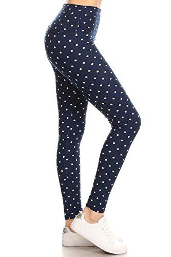 Leggings Depot Yoga Waist REG/Plus Women's Buttery Soft Workout Gym Leggings (Retro Polka Dots, One Size (S-L/Size 2-12))
