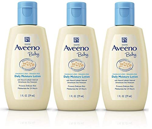 Aveeno Baby Daily Moisture Lotion Travel Size 1 oz (29ml) - Pack of 3