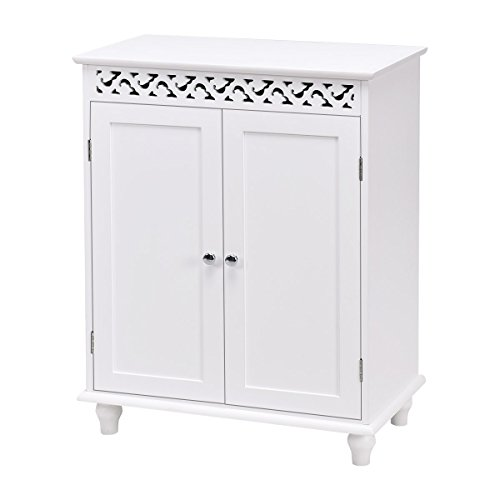 WATERJOY Storage Cabinet, Wooden Bathroom Cabinet with 2 Doors and 2 Shelves, Home Fashions Medicine Cabinet Cupboard with White Finish and Stylish Design, Snow White