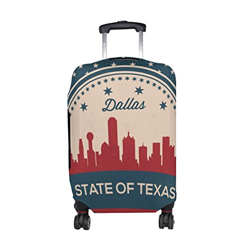 Vintage American Flag Texas State Dallas Skyline Luggage Cover Travel Suitcase Protector...