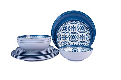 Melamine Dinnerware Set -12pcs Outdoor and Indoor Plates and Bowls Set ,Service for 4, Dishwasher Safe, Blue Flower