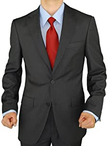 B00DP8TVKE Presidential Giorgio Napoli 2 Button Mens Suit Modern Business Fit Charcoal Gray (44 Regular US)