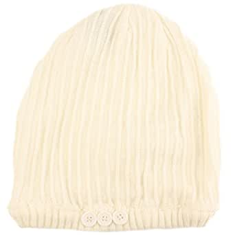 Winter Slouchy Ribbed Knit Beanie Button Ski Hat Ivory