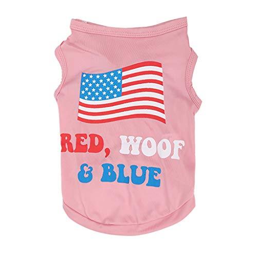 Wakeu Pet Shirt USA Flag Style Small Dog Clothes Pet Puppy Cat Costume Summer Apparel (S, Series 2 Pink) -