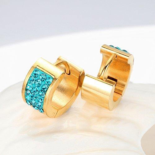 Les boucles d'oreilles Mesdames acier inoxydable Mens goujons Royalblue cristal 700