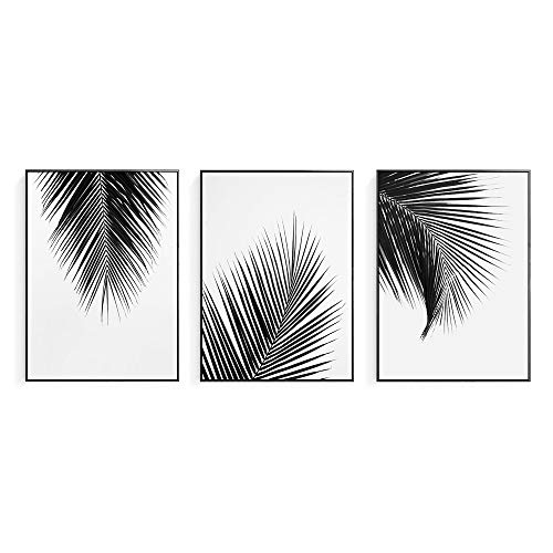 Crescent Art 2019 Trendy Framed Modern Abstract Elegant Black and White Palm Tree Leaves Giclee Canvas Prints Wall Art Picture Living Room Bedroom Home Decorations Print On Canvas Artwork Wall Decor - Framed Giclee Art