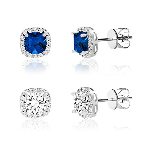 Prime Jewelry Rhodium Plated Silver Brass 2 Piece Blue and Clear Cubic Zirconia with Halo Stud Earring Set
