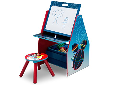 (Delta Children Activity Center with Easel Desk, Stool, Toy Organizer, Disney Mickey Mouse)