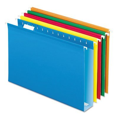 Hanging Box Bottom Folder with InfoPocket, Assorted Colors, Legal, 2 Cap., 25/Bx (ESS4153X2AST) by Pendaflex Essentials