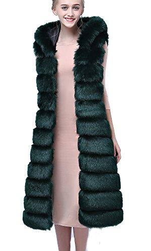 Abrigo Chaqueta para FOLOBE sintética Mujer Invierno Piel Cálida Darkgreen de de BEdd0wxO