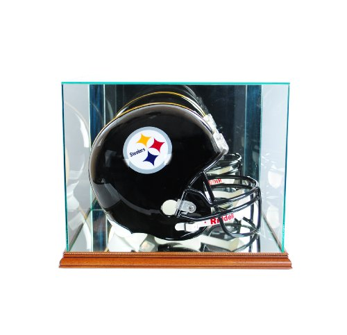 Perfect Cases NFL Rectangle Football Helmet Glass Display Case, Walnut