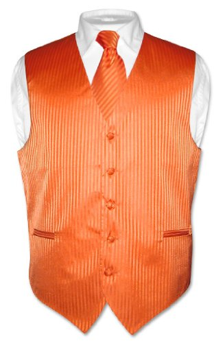 Men's Dress Vest & NeckTie Orange Striped Vertical Stripes sz XL