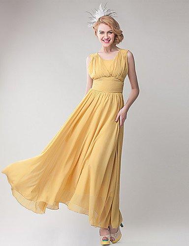 Mujer Vestidos Casual 2016 Verano Mujer/De Trabajo/Fiesta De chifón de Maxi vestido, Sobrepelliz Cuello, yellow-xl, yellow-xl, color amarillo, ...