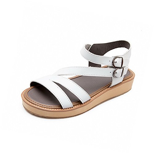 AmoonyFashion Womens Pu Solid Buckle Open Toe Low Heels Sandals White PyWM9P