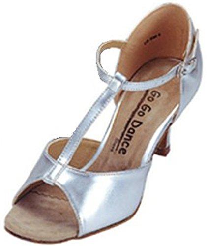 Latin T-strap Chaussure De Danse De Salon Argent
