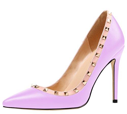Pumps mit Heels Damen Pu Nieten Übergröße High AOOAR Lila qOYP6Snx