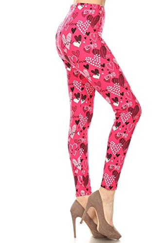 S678-OS Pink Love Print Fashion Leggings
