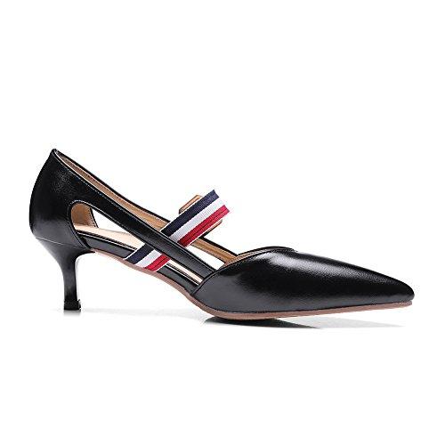 AdeeSu Ladies Pointed-Toe Buckle Cone-Shape Heel Urethane Sandals Black RRi6Y5HXjI