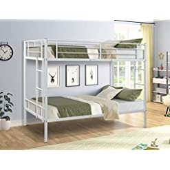 Bedroom Twin Over Twin Bunk Beds Metal Bed Frame with Safety Rail Ladders for Dormitory Bedroom Boys Girls Adults, Heavy Duty… bunk beds