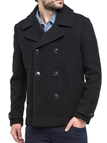 Mens Trenchcoat Double Breasted Overcoat Pea Coat Classic Wool Blend Short Jackets Black