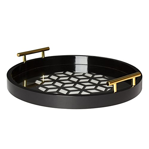 Kate and Laurel Caspen Round Cut Out Pattern Decorative Tray with Gold Metal Handles, Black (Tray Black Decorative)