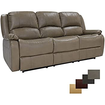 RecPro Charles Triple RV Zero Wall Hugger Recliner Sofa W/ Drop Down  Console Putty