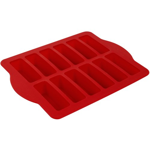 Chef Buddy 82-SDR24 Steel Reinforced Silicone Dessert Bar Pan, Red