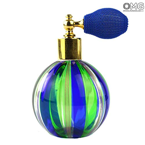 (Original Murano Glass OMG Bottle Perfume Atomizer Blue & Green Avventurine - Different Sizes and Color - Murano Glass)