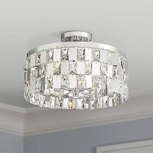 Selena Modern Ceiling Light Semi Flush Mount Fixture Polished Nickel 16