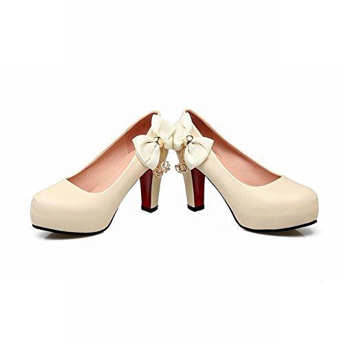 Charme Pied Femmes Mode Arcs Plate-forme À Talons Hauts Pompes Chaussures Abricot
