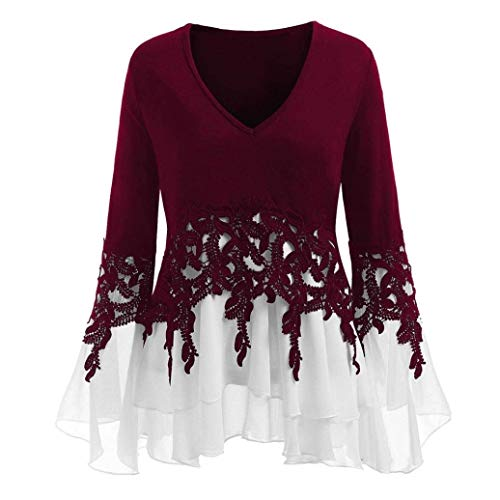 pissure Casual Chic Tops Cou Mode Costume Trompette Shirts V Blanc Automne Haut Manches Festive Vintage Printemps Tee Shirt Femme lgant Dentelle Blouse Mousseline wxUCPYq6