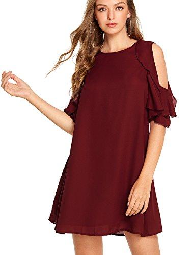 Dress Ruffle Neck Chiffon (Romwe Women's Short Sleeve Ruffle Cold Shoulder Loose Casual Chiffon Dress Burgundy L)