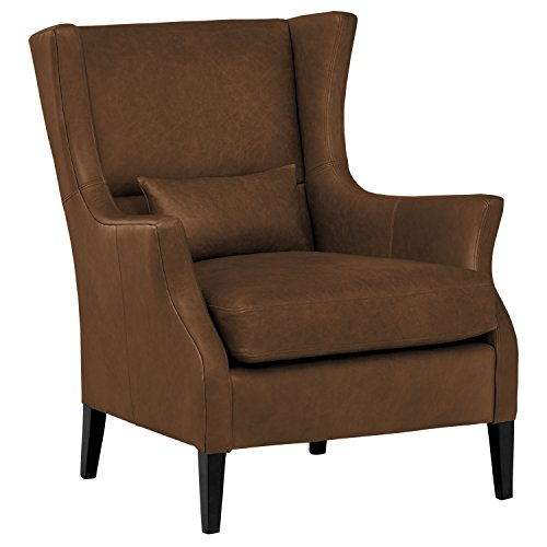 Stone & Beam Modern Leather Wingback Chair, 32.75″W, Havana Brown