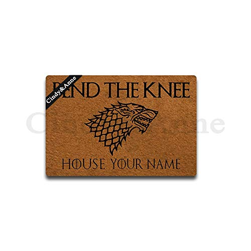 Cindy&Anne Customizable Personalized Bend The Knee Doormat Game of Thrones Entrance Floor Mat Funny Doormat Door Mat Decorative Indoor Outdoor Doormat 23.6 by 15.7 Inch