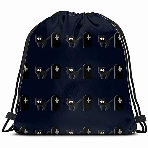 seamless halloween pattern cat cemetery backgrounds textures animal markings Drawstring Backpack Gym Spacious Pull String Backpack Multifunctional storage bag 14.2 x 16.9 inch]()