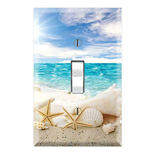 Graphics Wallplates - Seashells Ocean White Sand Beach- Single Toggle Wall Plate ()